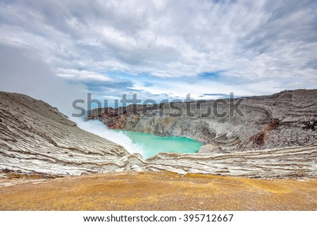 landscape of Ijen Crater Indonesia with Lake and Blue sky