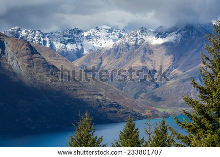 Landscape of lake in the south Island, Queenstown New Zealand  - stock photo