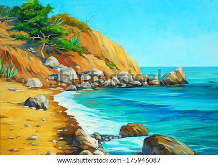 landscape of mediterranean sea with a beach and  bay, painting by oil on canvas,  illustration - stock photo