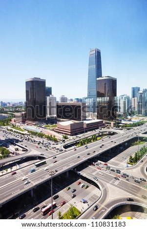 landscape of modern city ,beijing - stock photo