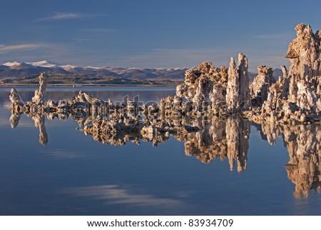 Landscape of Mono Lake with tufa formations and Eastern Sierra Nevada Mountains, California, USA - stock photo