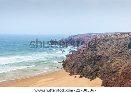 Landscape of Morocco. Coastline of Atlantic ocean - stock photo