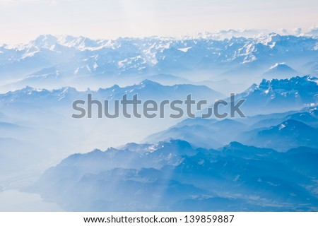 Landscape of Mountain.  view from the airplane window  - stock photo