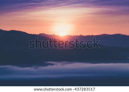 Landscape of Mountain views and Sunrise at Yun Lai Viewpoint,Pai Chiangmai Thailand (Vintage filter effect used) - stock photo