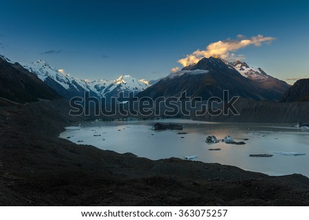 landscape of mt.cook national park, New Zealand, South Island - stock photo