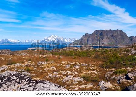Landscape of norwegian island Skrova on Lofoten in sunny day - stock photo
