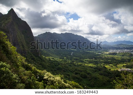 landscape of Nuuanu Pali, Oahu, Hawaii - stock photo