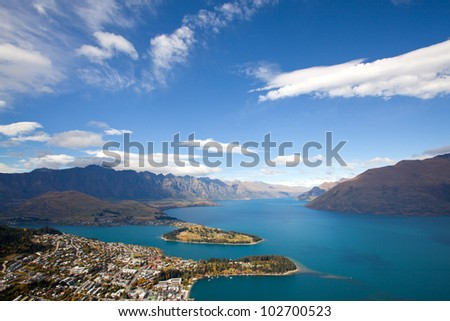 Landscape of Queenstown with lake Wakatipu from Bob's Peak New Zealand - stock photo