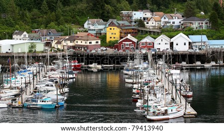 Landscape of Quiet moorage in Ketchikan Alaska - stock photo