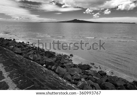 Landscape of Rangitoto Island near Auckland New Zealand. - stock photo