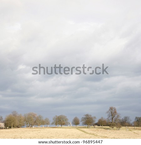 Landscape of Richmond Park, it is the largest park of the royal parks in London and almost three times bigger than New York's Central Park. - stock photo