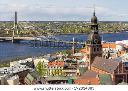 Landscape of Riga from st. Peter's church to Dom cathedral, Latvia - stock photo