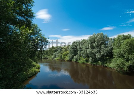 Landscape of river Severn in England, UK in summer - stock photo