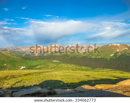 Landscape of Rocky Mountain National Park along the Trail Ridge Road in the early morning, the northwest town of Boulder, Colorado, United States.  - stock photo