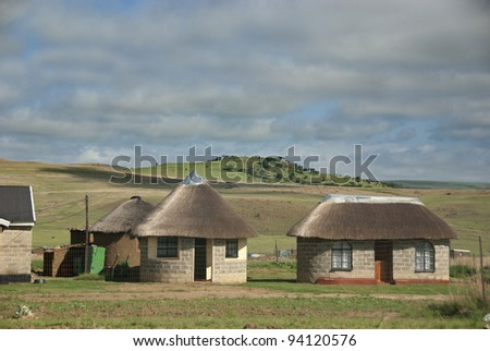 Landscape of rural zululand, KwaZulu was a bantustan in South Africa, intended by the apartheid government as a semi-independent homeland for the Zulu people. - stock photo