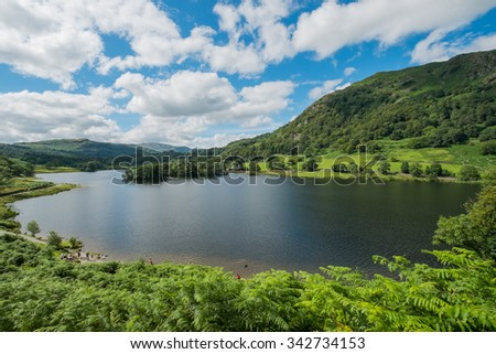 Landscape of Rydal Water in the Lake District. - stock photo