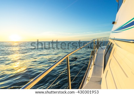 landscape of sea at sunrise on view from yacht - stock photo