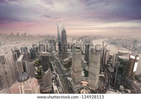 landscape of shanghai - stock photo