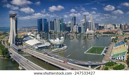 Landscape of Singapore city in day morning time - stock photo