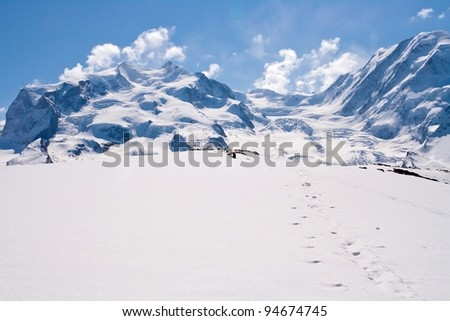 Landscape of Snow Mountain Range at Matterhorn Alps Alpine Region Switzerland - stock photo