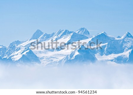 Landscape of Snow Mountain with Blue Sky from Pilatus Peaks Alps Lucern Switzerland - stock photo