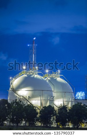 Landscape of sphere tank of storage gas and liquid chamical. - stock photo