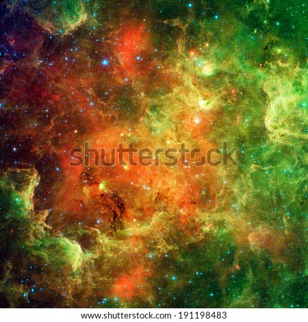 Landscape of star clusters (one million years old) known as the North American and Pelican Nebula (upper right) Retouched & cleaned version of original image from Spitzer Telescope - NASA/JPL-Caltech - stock photo