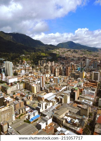 Landscape of the buildings and the mountains of the downtown in Bogota, Colombia.  - stock photo