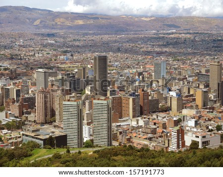 Landscape of the buildings of the downtown in Bogota, Colombia. - stock photo