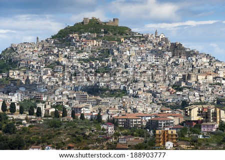 landscape of the city of Agira, Sicily, Italy, Europe - stock photo