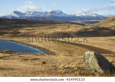 Landscape of the eastern edge of Torres del Paine National Park, Magallanes, Chile - stock photo