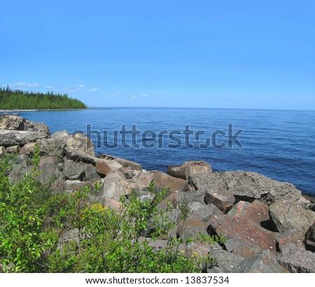 Landscape of the Ladoga lake - stock photo