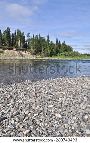 landscape of the Northern boreal river. River Lemva, Republic of Komi, Polar Urals, Russia. - stock photo