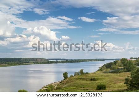 landscape of the Volga River in the Tver region, Russia - stock photo