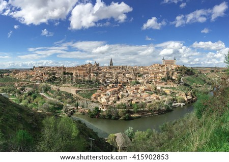 landscape of Toledo old city from Parador view point, Spain - stock photo