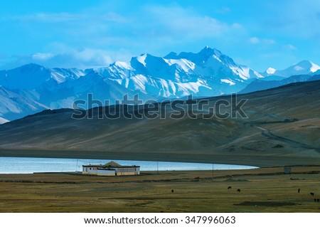 Landscape of Tso Moriri or Lake Moriri, Ladakh, Changthang Plateau, Jammu and Kashmir, northern India. - stock photo
