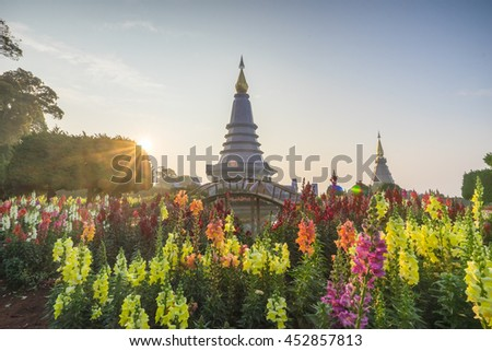 Landscape of two pagoda (noppha methanidon-noppha phon phum siri stupa) in an Inthanon mountain, chiang mai, Thailand - stock photo