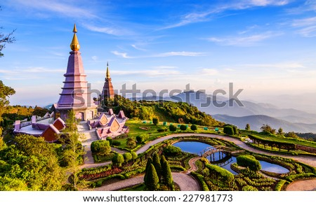 Landscape of two pagoda on the top of Inthanon mountain, Chiang Mai, Thailand.  - stock photo