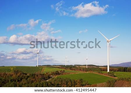Landscape of windmill on hill at Akita, Japan - stock photo