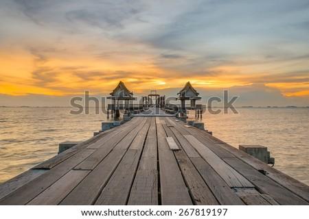 Landscape of Wooded bridge pier between sunset. Summer travel in Phuket ,Thailand. - stock photo