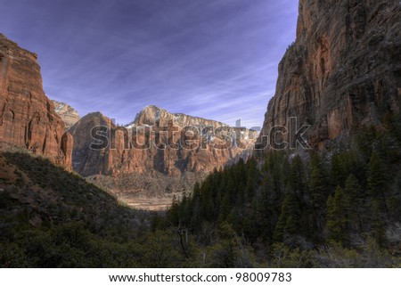 Landscape of Zion National Park, Utah, close to the Grand Canyon - stock photo