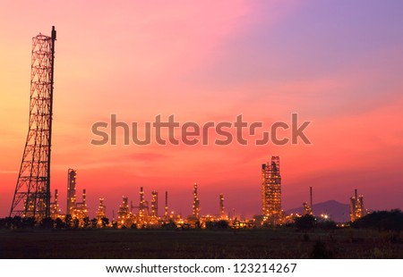Landscape oil refinery at twilight - stock photo
