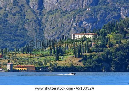 Landscape on the Como Lake, Italy - stock photo
