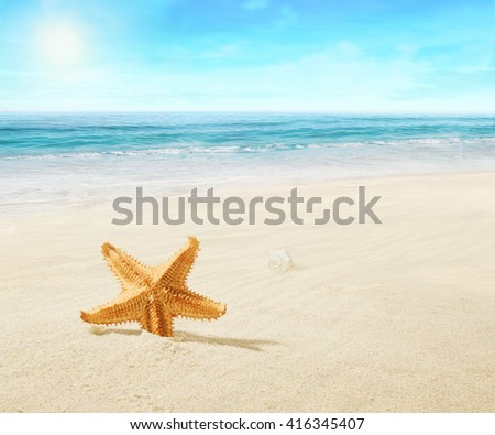 Landscape on tropical beach. - stock photo