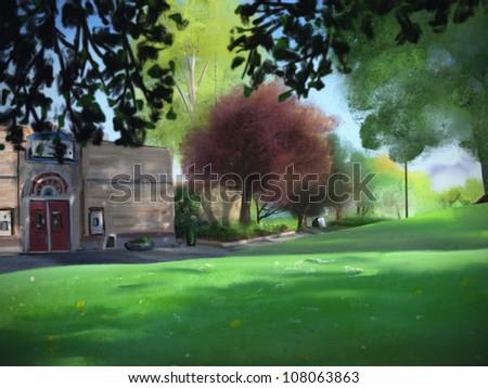 landscape painting of Green Lake Park in Seattle, Washington - stock photo