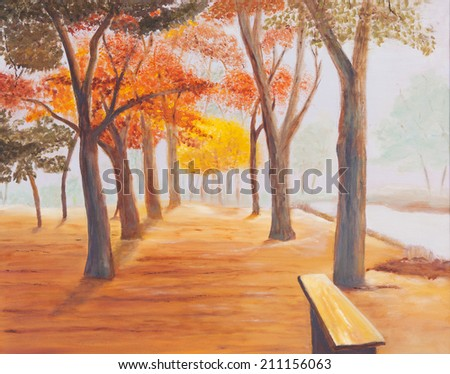 Landscape painting showing beautiful sunny autumn day in a park - stock photo