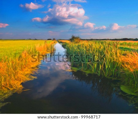 Landscape painting showing clear river water surrounded by vegetation on sunny spring day. - stock photo