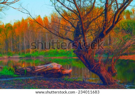 Landscape painting showing forest on gloomy autumn day. - stock photo
