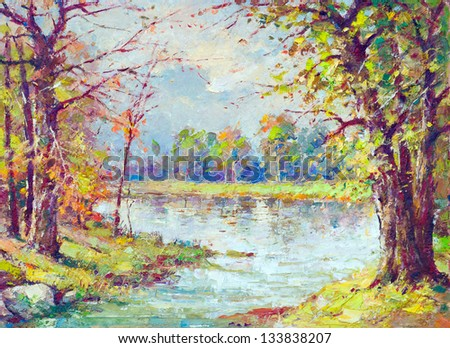 Landscape painting showing river flowing through the forest on beautiful spring day. - stock photo