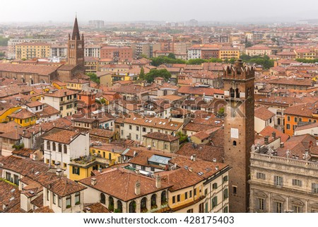 Landscape (panorama) of Verona (Italy) from highest tower in city center - stock photo